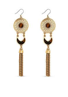 Lucky Brand Jewelry Gold-Tone Tortoise Linear Earrings