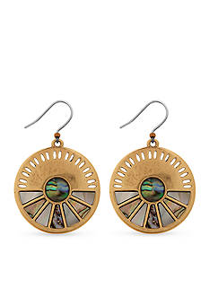 Lucky Brand Jewelry Gold-Tone Abalone Circle Drop Earrings