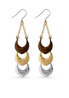 Lucky Brand Jewelry Tri-Tone Linear Dangle Earrings