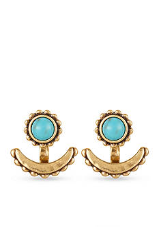 Lucky Brand Gold-Tone Turquoise Front and Back Earrings
