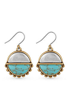 Lucky Brand Two-Tone Turquoise Drop Earrings