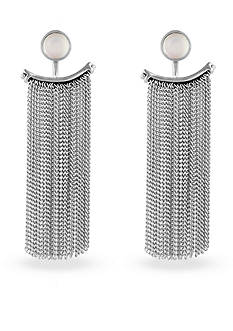 Lucky Brand Jewelry Silver-Tone Moonstone Fringe Ear Jacket