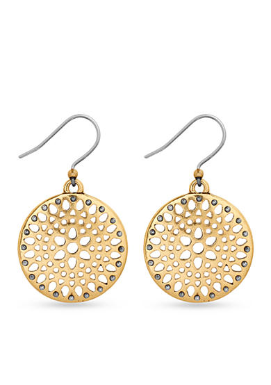 Lucky Brand Gold-Tone Openwork Drop Earrings