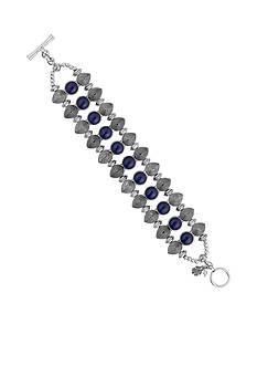 Lucky Brand Jewelry Silver-Tone Lapis Pave Bracelet