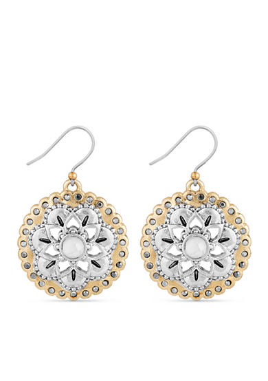 Lucky Brand Two-Tone Floral Drop Earrings