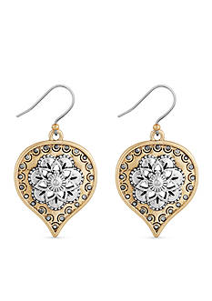 Lucky Brand Jewelry Two-Tone Floral Spade Drop Earrings