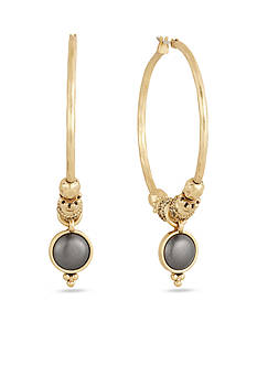Lucky Brand Jewelry Gold-Tone Floral Hoop Earrings