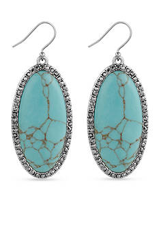 Lucky Brand Jewelry Silver-Tone Large Oblong Turquoise Stone Drop Earrings