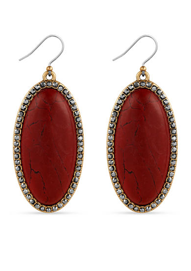 Lucky Brand Silver-Tone Large Oblong Red Stone Drop Earrings