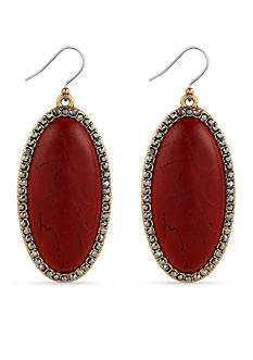 Lucky Brand Jewelry Silver-Tone Large Oblong Red Stone Drop Earrings