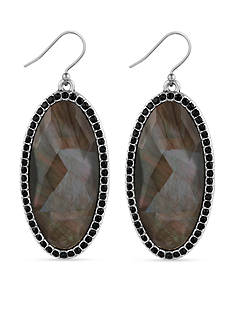 Lucky Brand Jewelry Silver-Tone Large Oblong Black Mother of Pearl Drop Earrings