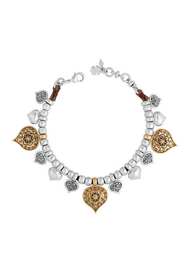 Lucky Brand Two-Tone Floral Leather Beaded Bracelet