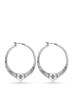 Lucky Brand Jewelry Silver-Tone Etched Hoop Earrings