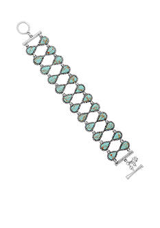 Lucky Brand Jewelry Silver-Tone Turquoise Crystal Toggle Bracelet