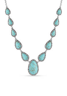 Lucky Brand Jewelry Silver-Tone Turquoise Crystal Collar Necklace