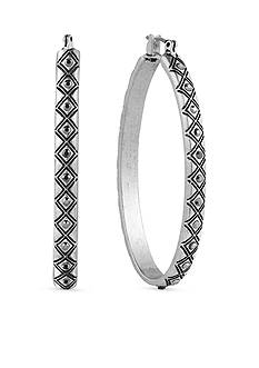 Lucky Brand Silver-Tone Tribal Hoop Earrings