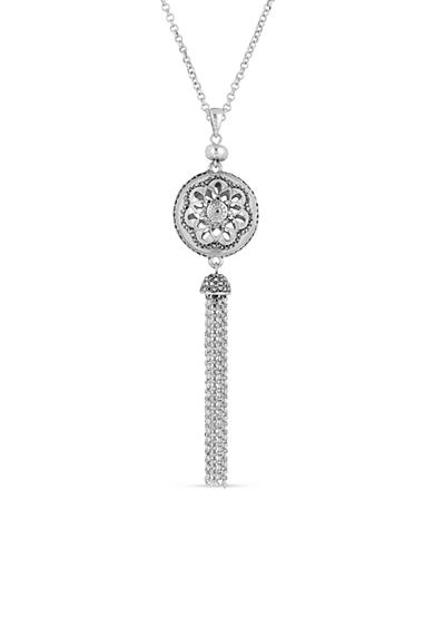 Lucky Brand Silver-Tone Pave Sphere Pendant Necklace
