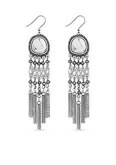 Lucky Brand Silver-Tone Pebble Statement Chandelier Earrings