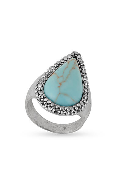 Lucky Brand Silver-Tone Turquoise Pave Ring