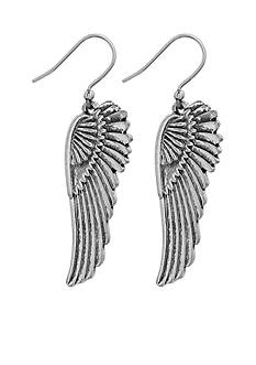 Lucky Brand Jewelry Silver-Tone Feather Drop Earrings