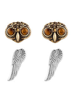 Lucky Brand Jewelry Two-Tone Owl Stud Earring Set