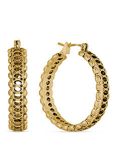 Lucky Brand Jewelry Gold-Tone Etched Hoop Earrings