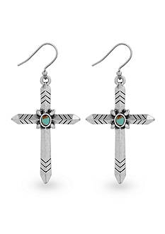 Lucky Brand Jewelry Silver-Tone Cross Drop Earring
