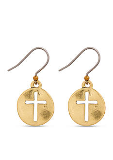 Lucky Brand Jewelry Gold-Tone Cross Coin Earrings