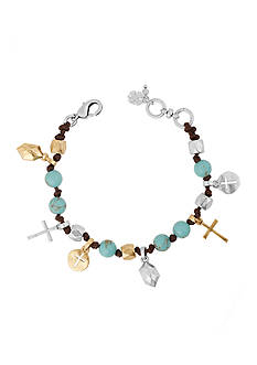 Lucky Brand Jewelry Two-Tone Beaded Cross Leather Bracelet