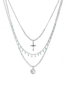 Lucky Brand Jewelry Silver-Tone Multistrand Turquoise Cross Necklace