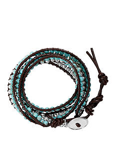 Lucky Brand Jewelry Silver-Tone Turquoise Beaded Wrap Bracelet