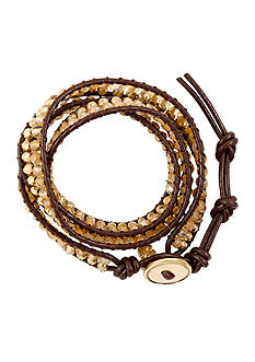 Lucky Brand Jewelry Gold-Tone Beaded Wrap Bracelet
