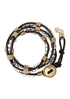 Lucky Brand Jewelry Two-Tone Beaded Wrap Bracelet
