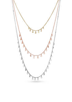 Lucky Brand Tri-Tone Modern Metals Layered Necklace