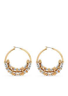 Lucky Brand Two-Tone Beaded Metal Hoop Earrings