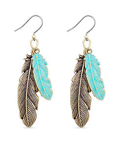 Lucky Brand Gold-Tone Patina Feather Drop Earrings