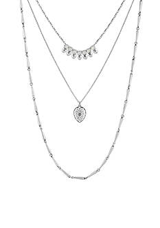 Lucky Brand Jewelry Silver-Tone Moonstone Lucky Multi-Layer Necklace