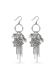 Lucky Brand Jewelry Silver-Tone Floral Charm Earring