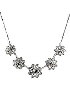 Lucky Brand Jewelry Silver-Tone Floral Collar Necklace
