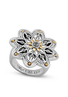 Lucky Brand Jewelry Silver-Tone Floral Ring