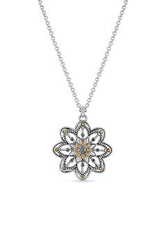 Lucky Brand Jewelry Silver-Tone Floral Pendant Necklace