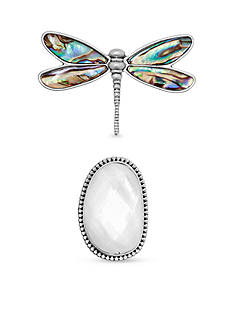 Lucky Brand Silver-Tone Dragonfly and Mother of Pearl Pin Set