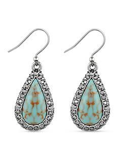 Lucky Brand Jewelry Silver-tone Teardrop Turquoise Crystal Drop Earrings