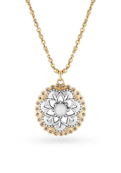 Lucky Brand Two-Tone Floral Pave Pendant Necklace