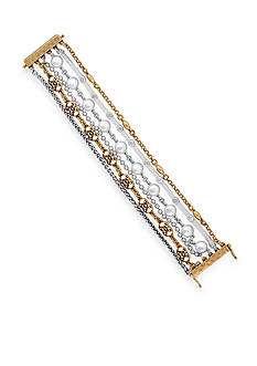 Lucky Brand Two-Tone Pearl Lucky Layer Magnetic Wrap Bracelet