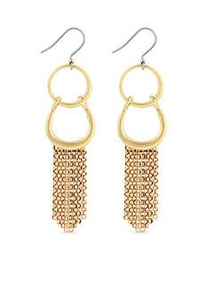 Lucky Brand Gold-Tone Fringe Double Drop Earrings