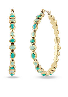 Lucky Brand Gold-Tone Turquoise Beaded Hoop Earrings