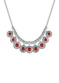 Lucky Brand Silver-Tone Red Stone Collar Necklace