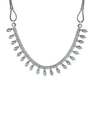 Lucky Brand Jewelry Silver-Tone Delicate Turquoise Collar Necklace