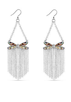 Lucky Brand Silver-Tone Abalone Dragonfly Statement Earrings